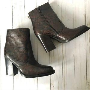 Nine West Snakeskin Shania Leather Booties 7